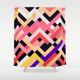Coral&Black No. 1 Shower Curtain