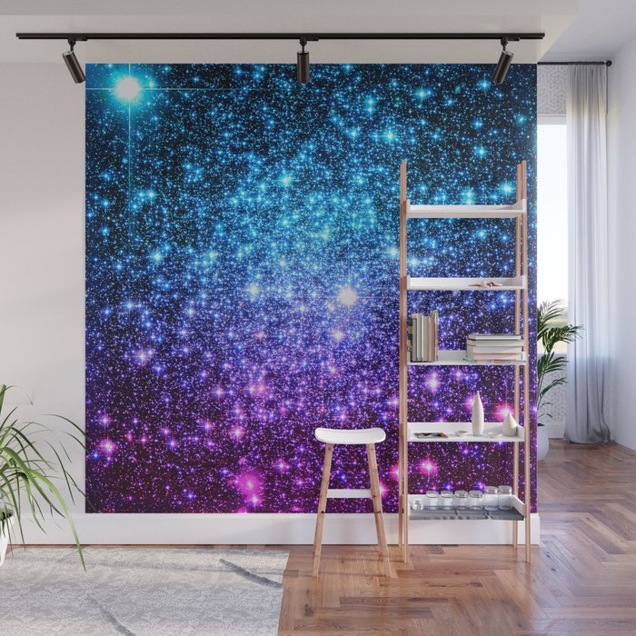 Glitter Galaxy Stars Turquoise Blue Purple Hot Pink Ombre Wall Mural