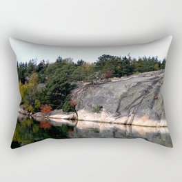 Fall Colors Accentuating Cliff Reflections Rectangular Pillow
