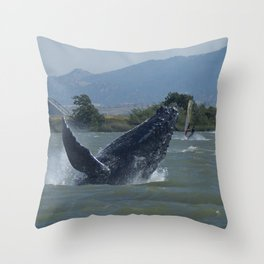 Humpback Whale Breaching by Windsurfers Throw Pillow