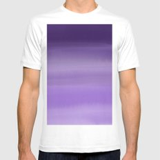 Modern painted purple lavender ombre watercolor MEDIUM White Mens Fitted Tee