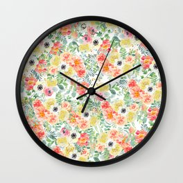 Hand painted modern pink yellow green watercolor floral pattern Wall Clock