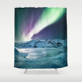aurora in iceland Shower Curtain
