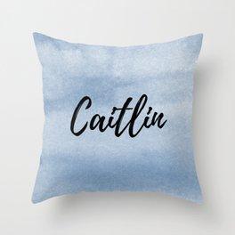 Caitlin - Blue Watercolor Throw Pillow