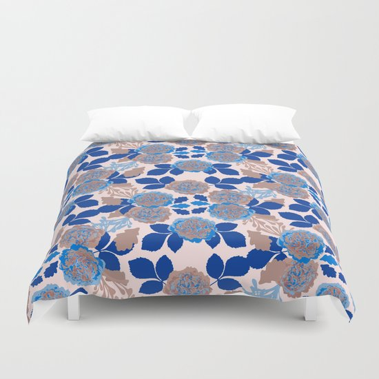 Creme and Blue Carnation Garden  Duvet Cover