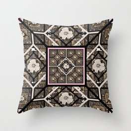Cherokee Rose Pattern 1 brown and pink Throw Pillow