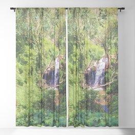 Hidden Waterfall in Forest Sheer Curtain