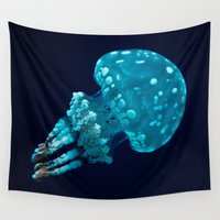 jellyfish Wall Tapestries featuring jellyfish by Sara Eshak