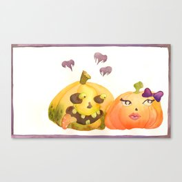 Pumpkins in Love Watercolor Canvas Print