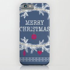Merry christmas and happy new year greeting card wreath background iPhone 6s Slim Case