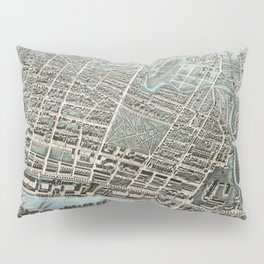 Vintage Pictorial Map of Lawrence Massachusetts (1876) Pillow Sham