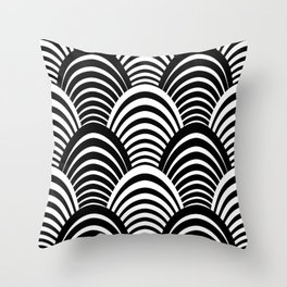 Black and White Art Deco Pattern Throw Pillow
