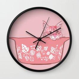 Cat in Bowl #1 Wall Clock