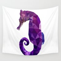 sea horse Wall Tapestries featuring Sea horse by Julia Brnv