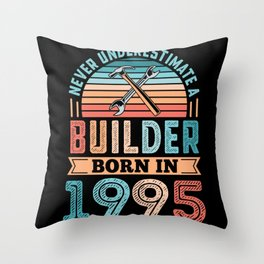 Builder born in 1995 30th Birthday Gift Building Throw Pillow