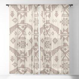 Southwestern Thunderbird Kilim in Ecru + Taupe Sheer Curtain