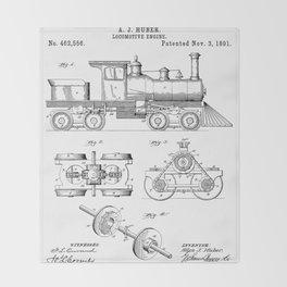 Train Locomotive Patent - Steam Train Art - Black And White Throw Blanket