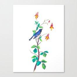 Blue Birds & Pastel Turquoise Leaves Canvas Print