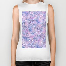 Modern blue blush pink watercolor hand painted tropical floral Biker Tank