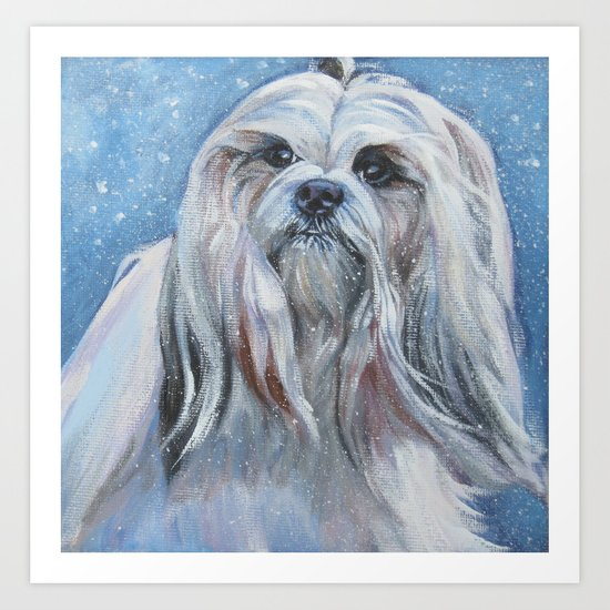 Lhasa Apso dog art portrait from an original painting by L.A.Shepard by thedoglover