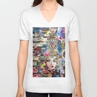 marie antoinette V-neck T-shirts featuring Marie Antoinette by Katy Hirschfeld