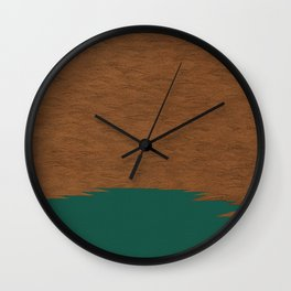 Copper and Green Abstract Wall Clock