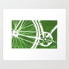 Green Bike Art Print