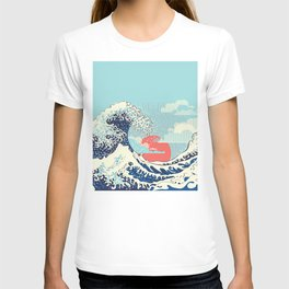 The Great Wave off Kanagawa stormy ocean with big waves T-shirt