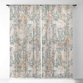 Blue Cockatoo and Pomegranate by Walter Crane Sheer Curtain