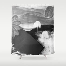 Abstract Flowers. Black and White. Flowers. Mountains. Landscape Shower Curtain