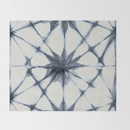 Shibori Starburst Indigo Blue on Lunar Gray Throw Blanket