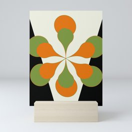 Mid-Century Modern Art 1.4 - Green & Orange Flower Mini Art Print