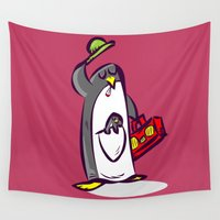 rap Wall Tapestries featuring rap r&b penguin smoke marihuana   by gran mike