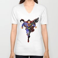 super hero V-neck T-shirts featuring Super Hero by Ayse Deniz