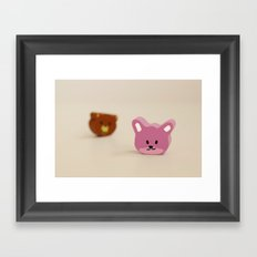 Little rabbit and bear head Framed Art Print