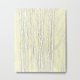 Birch Trees Pattern Soft Moss Metal Print