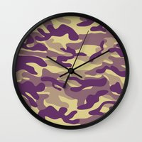 military Wall Clocks featuring Purple Military Camouflage Pattern by SW Creation
