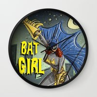 batgirl Wall Clocks featuring Batgirl by Joe Badon