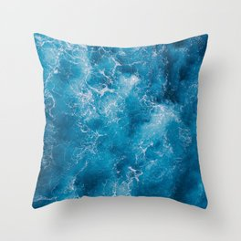 AERIAL - SHOT - OF - BLUE - WATER - PHOTOGRAPHY Throw Pillow