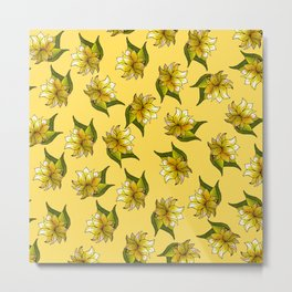 Floral Bliss - II - Yellow Palette  Metal Print
