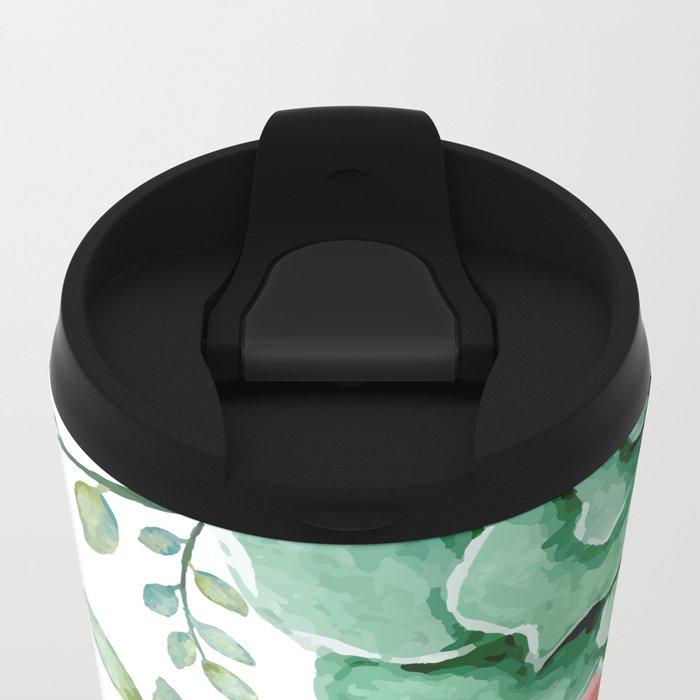 FLOWERS WATERCOLOR Metal Travel Mug