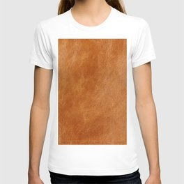 Rustic ginger smooth natural brown leather, vintage nature texture T-shirt