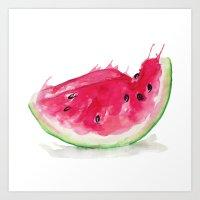watermelon Art Prints featuring Watermelon by Bridget Davidson