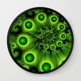 Green Fractal, Modern Spiral With Depth Wall Clock