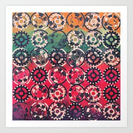 Grunge industrial pattern Art Print