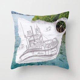 Sailing Blue Throw Pillow