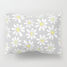 simple daisies on gray Pillow Sham