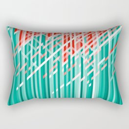 Teal and Coral Color Dynamic Lines Rectangular Pillow