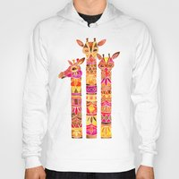 giraffes Hoodies featuring Giraffes – Fiery Palette by Cat Coquillette