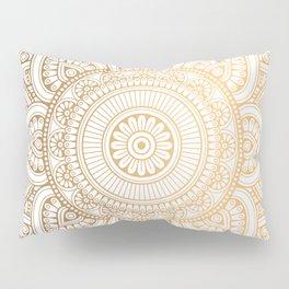 Gold Mandala Pattern Illustration With White Shimmer Pillow Sham